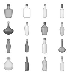 different bottles icons set monochrome vector image