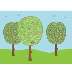 flower trees vector image vector image