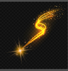 gold falling star with glittering trail vector image vector image