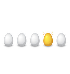 golden egg among ordinary eggs vector image