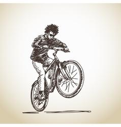Hand drawn cyclist vector image vector image