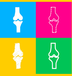 Knee joint sign four styles of icon on four color vector