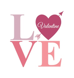 Love arrow word pastel vector