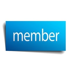 Member blue paper sign on white background vector