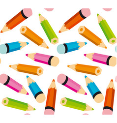 pattern with little colorful pencils vector image