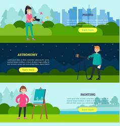 people hobbies horizontal banners vector image vector image