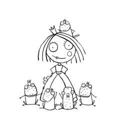 Princess and many prince frogs portrait coloring vector