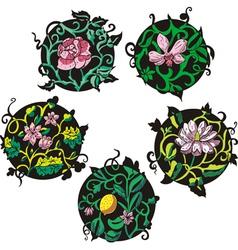 Round pink flower designs vector