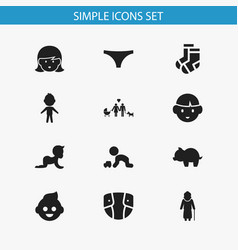 set of 12 editable kin icons includes symbols vector image vector image