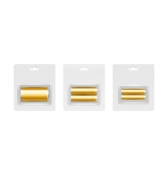Set of golden alkaline batteries in gray blister vector