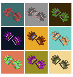 set of icons in flat design gloves for the gym vector image