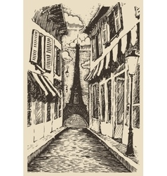 Streets in Paris France vintage engraved vector image vector image