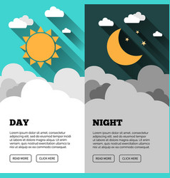 sun moon stars banner day and night time vector image