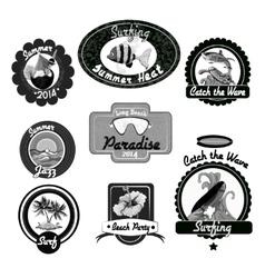 Surfing emblems black vector image