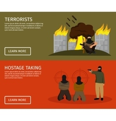 Terrorism flat banner set vector