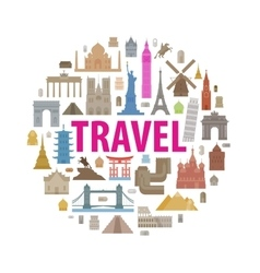 Vacation travel icons set vector