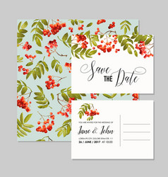 wedding invitation template with rowanberry vector image vector image