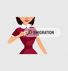 Woman is written emigration in search bar vector