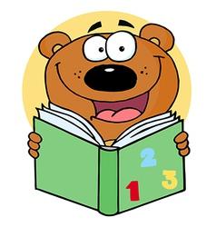 Happy Bear Reading A Book vector image