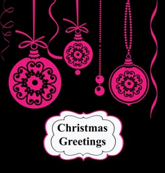 Christmas pink balls on black background vector