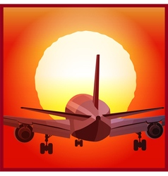 plane takes off at sunset vector image