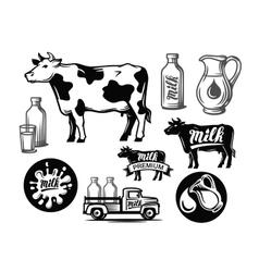 black milk cow symbol vector image