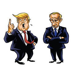 Donald trump and vladimir putin cartoon vector