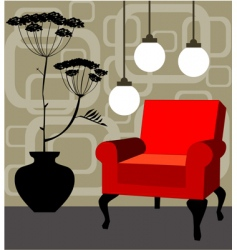 Retro interior design vector