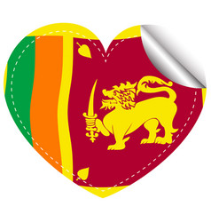 Icon design for flag of sri lanka in heart shape vector