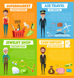 Posters of shopping jewelry and air travel vector