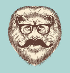Hipster lion with eyeglasses and mustache vector