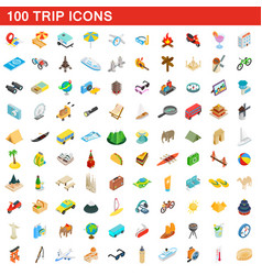 100 trip icons set isometric 3d style vector image