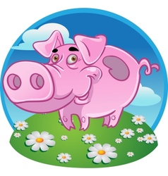 Funny pink pig on color background vector