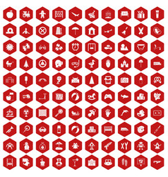 100 childhood icons hexagon red vector