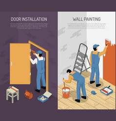 Isometric renovation banners vector