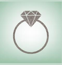 Diamond sign   brown flax icon vector