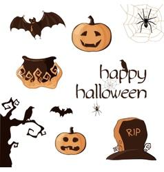 Halloween set of element vector image