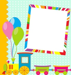 Greeting card with photo frame and cartoon train vector