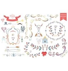 Vintage wedding floral doodle decoricons set vector