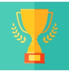 Flat icon champion trophy cup victory success win vector