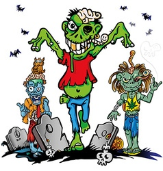 Fun zombie cartoon set on white background vector