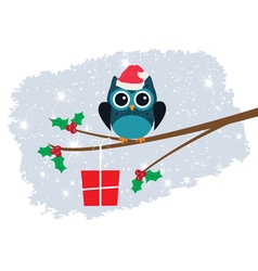 Owl in santa hat vector