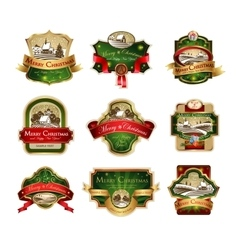 Christmas labels with lovely winter landscape vector