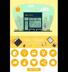 Shop and flat icons for e commerce art gallery vector