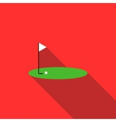 Red golf flag on a course icon flat style vector