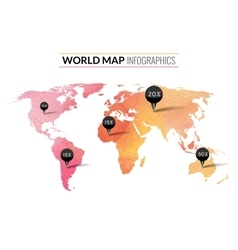Colorful watercolor world map infographics vector