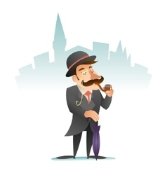 Smoking victorian gentleman umbrella cartoon vector