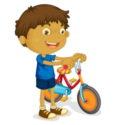 Boy with bicycle vector
