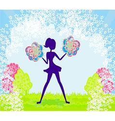 Abstract cheerleader girl poster vector image