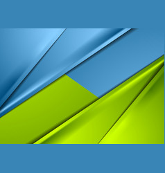 Abstract shiny green and blue smooth contrast vector